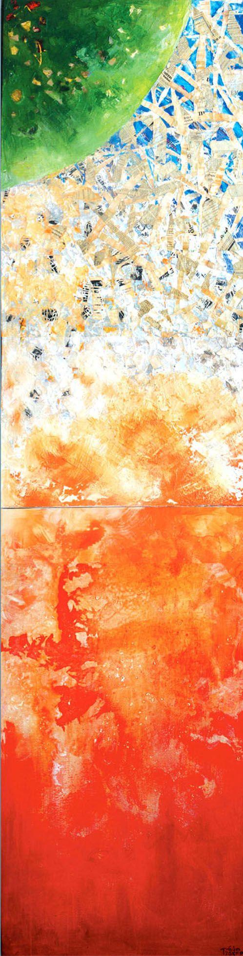 """""""Αντίθεση"""" 260x70cm, μικτή τεχνική σε καμβά. δίπτυχο.                                  """"Contrast""""260x70mixed media on canvas, diptych."""