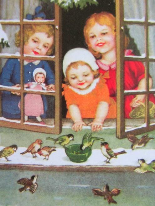 vintage illustration: children feeding little birds