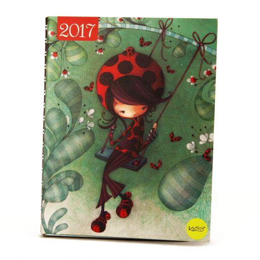 Agenda quotidien 2017 Coccinelle à la balançoire, de la papeterie KETTO!