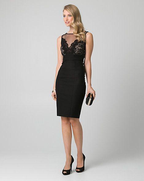 Lace+&+Bengaline+Illusion+Cocktail+Dress