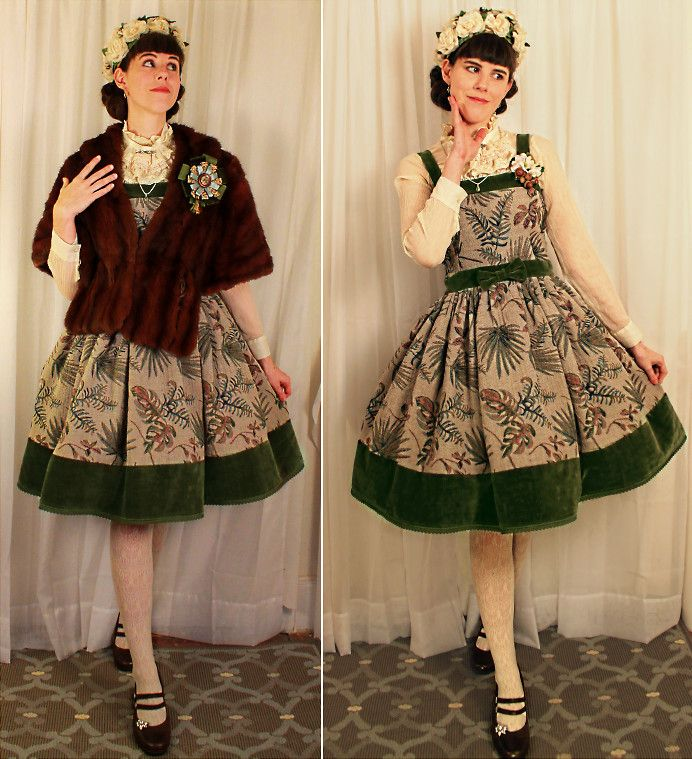 Tyler H - My Own Work Fern Jsk, Ebay Cream Lace Tights, Clarks Brown Heels, Remade Vintage Rhinestone Shoe Clips, My Own Work Forest Rosette, Outlet Cream Blouse, Peridot Pendant, Great Grandmothers Hat, Lily Of The Valley Acorn Two Way Clip, Vintage Mink Stole - Ferns and Moss