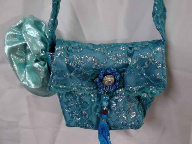 Teal Satin Lace lolita Purse upcycled prom dress bag  tassel flower  5021 #Handmade #lolitagypsybohotasselShoulderBag