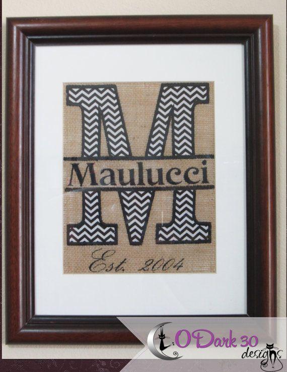 Custom sir name monogram embroidery art on natural burlap