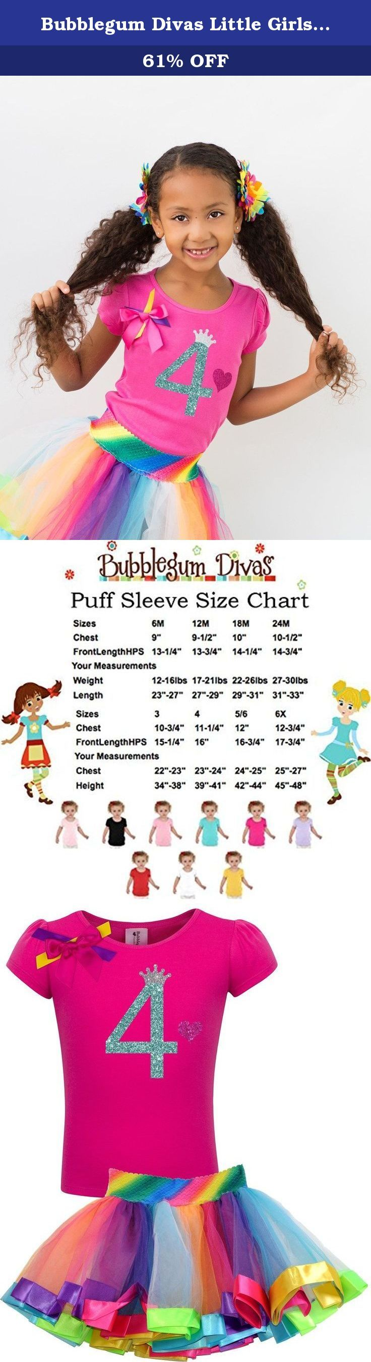 Bubblegum Divas Little Girls' 4th Birthday Rainbow Tutu Outfit 4. Rainbow 4th birthday Party Outfit. Celebrate the milestone that's a little one's fourth birthday with this girly, twirly tutu dress set. The glitter number four design and tulle rainbow tutu skirt are more festive than the candles on the cake, while its stretchy fabric is comfy for girls to wear.