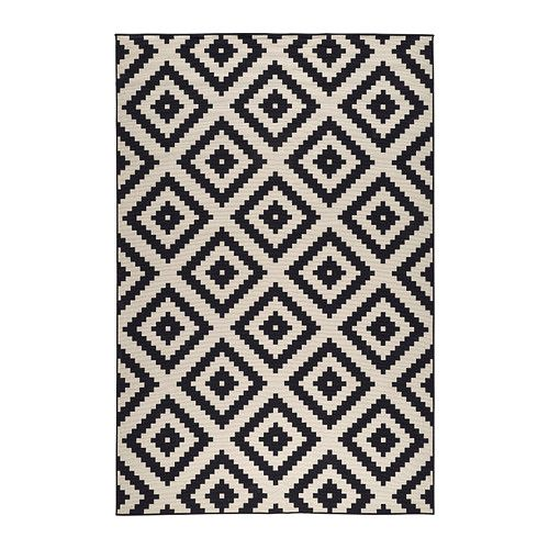 IKEA LAPPLJUNG RUTA Rug, low pile White/black 200x300 cm Ideal in your living room or under your dining table since the flat-woven surface makes it easy ...