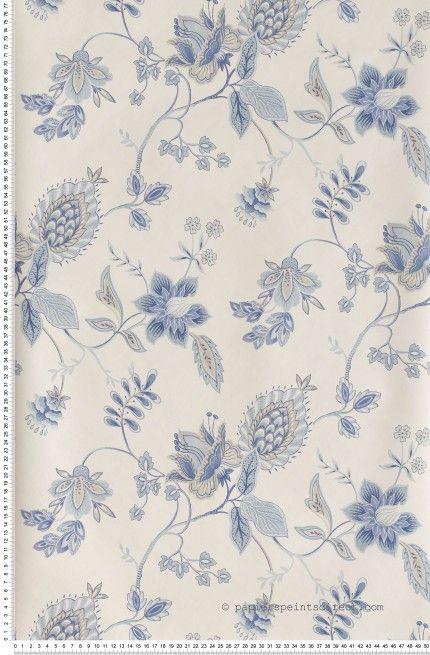 fleurs bleues sur fond blanc papier peint lut ce. Black Bedroom Furniture Sets. Home Design Ideas