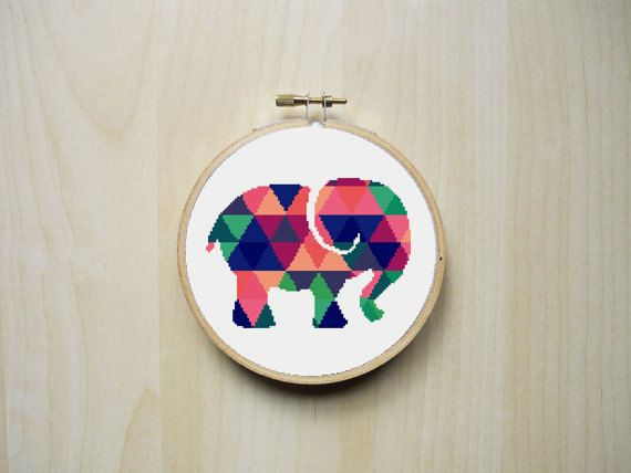 Modern Counted Cross Stitch Pattern   Colourful Patterned Elephant Silhouette…