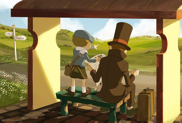Layton and Luke at the Busstop by ~wredwrat on deviantART