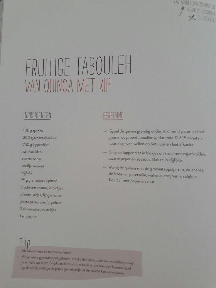 Fruitige tabouleh van quinoa met kip - Nooit meer diëten