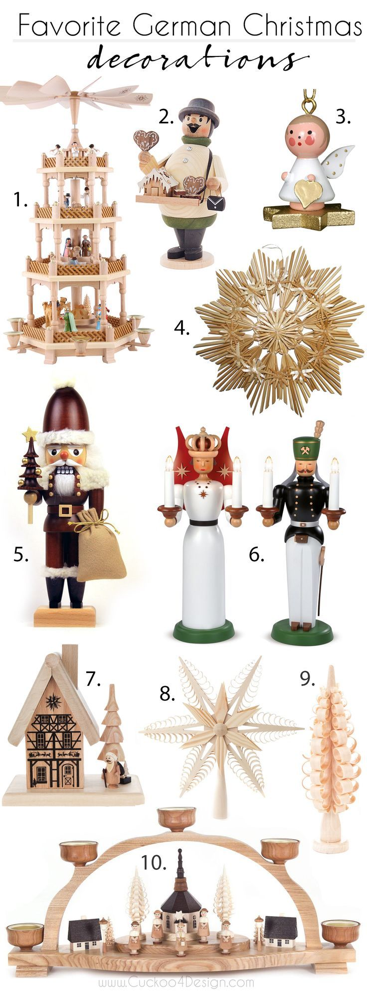 favorite German Christmas Decorations: candle arches, nut crackers, incense smokers, Christmas pyramids, shaved trees and star stars and ornaments via @jakonya