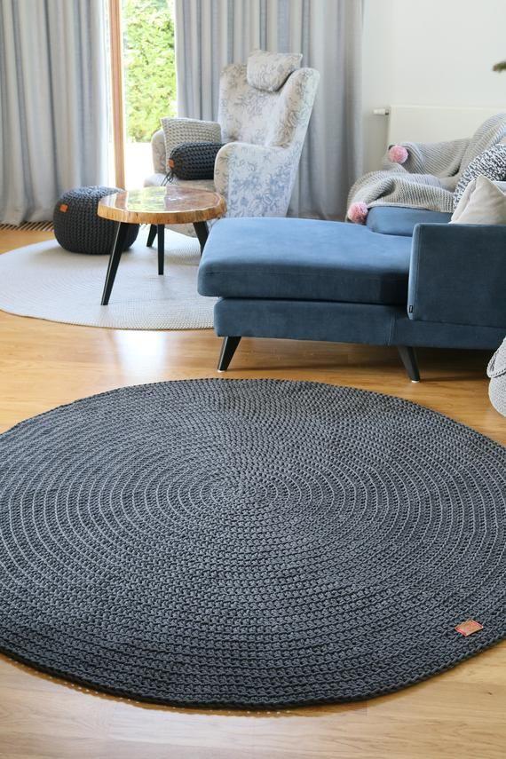 Handmade Dark Gray Round Rug Round Area Rug Nursery Rug