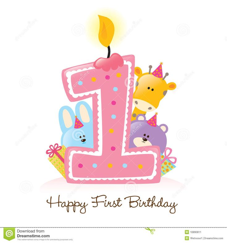 First Birthday Candle With Animals Stock Photo: Happy First Birthday Candle And Animals Isolated
