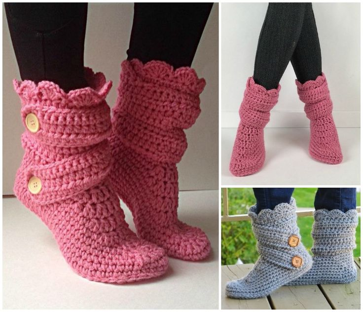 Crochet Classic Snow Slipper Boots-10 High Knee Crochet Slipper Boots Patterns to Keep Your Feet Cozy - Adult Version