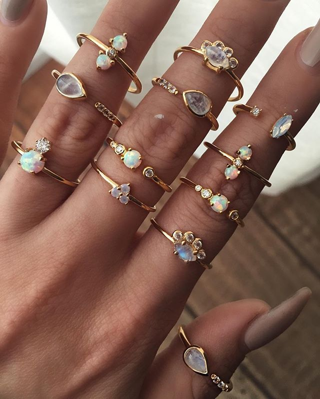 ✧♢✧ I N S A N E new Opal , Moonstone, White Topaz dainty gold rings just launched on www.childofwild.com ✧♢✧ #childofwild #dearsanta {shop link in bio}