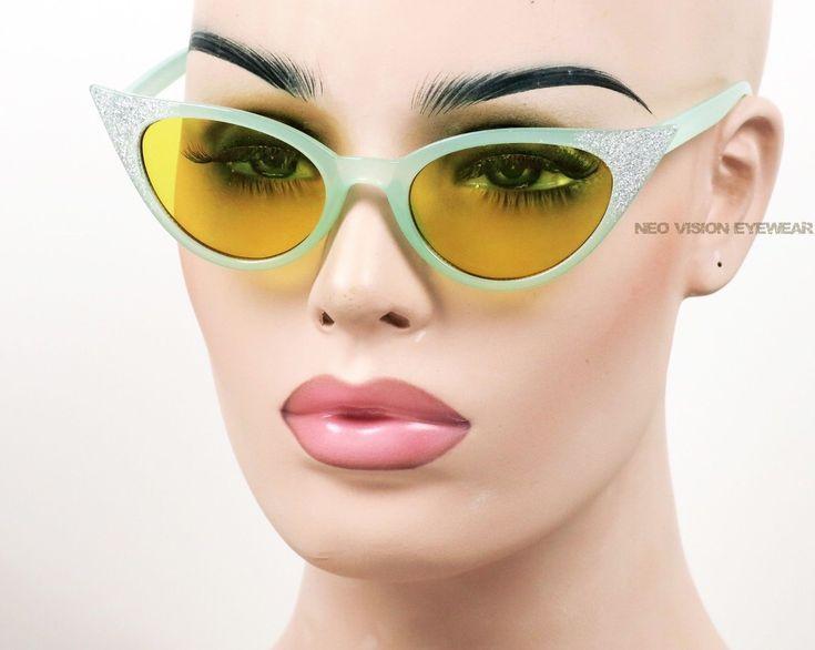 Glitter Cat Eye Multi Color Lenses Frames Pinup Vintage Style Sunglasses 328