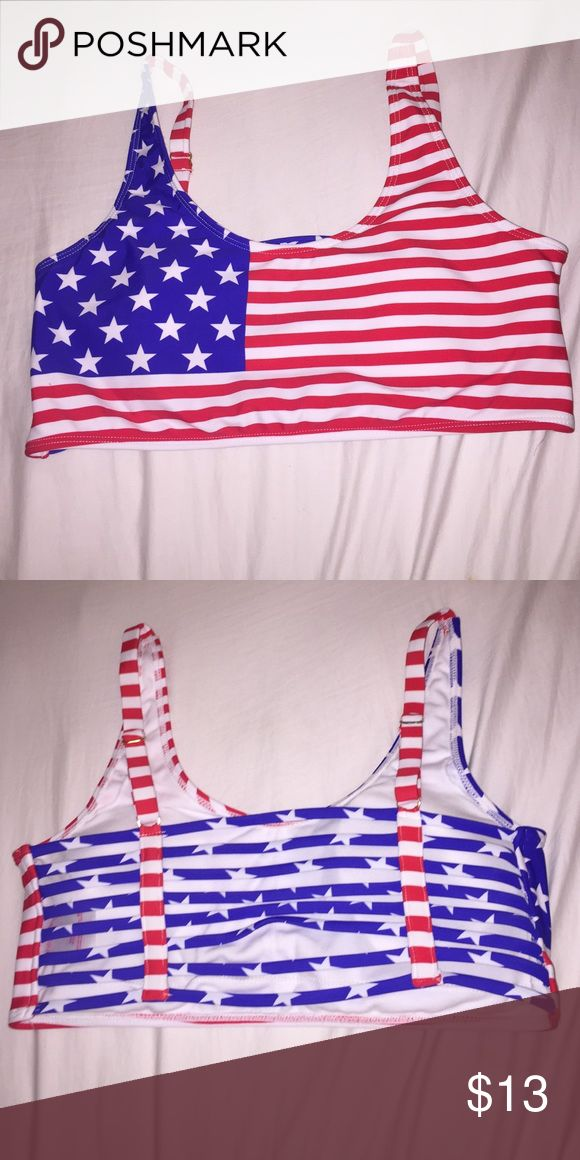 An American flag bathing suit top A strappy bathing suit top that has not been worn. Swim Bikinis