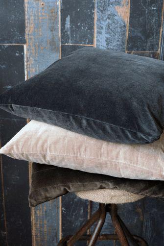 Velvet feather cushions