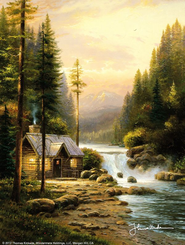 Evening In The Forest by Thomas Kinkade- Beautiful... A light has been dimmed - May Mr. Kinkade now be with God in a paradise even more awesome than those he painted.