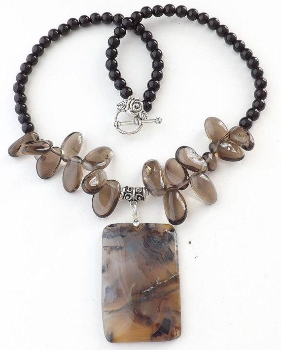 Natural Smokey Agate gemstone pendantSmokey by Sjewelry4u on Etsy, $15.00