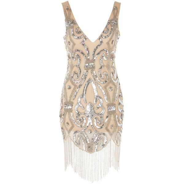 Embellished Mini Dress by Rare ($125) ❤ liked on Polyvore featuring dresses, nude, nude dress, cocktail party dress, mini dress, short dresses and embellished party dresses