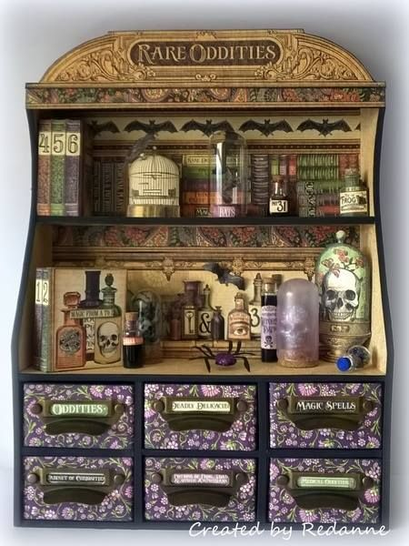 Haunted Graphic 45 Sizzix Candy Drawer Apothecary Cabinet by Anne Redfern