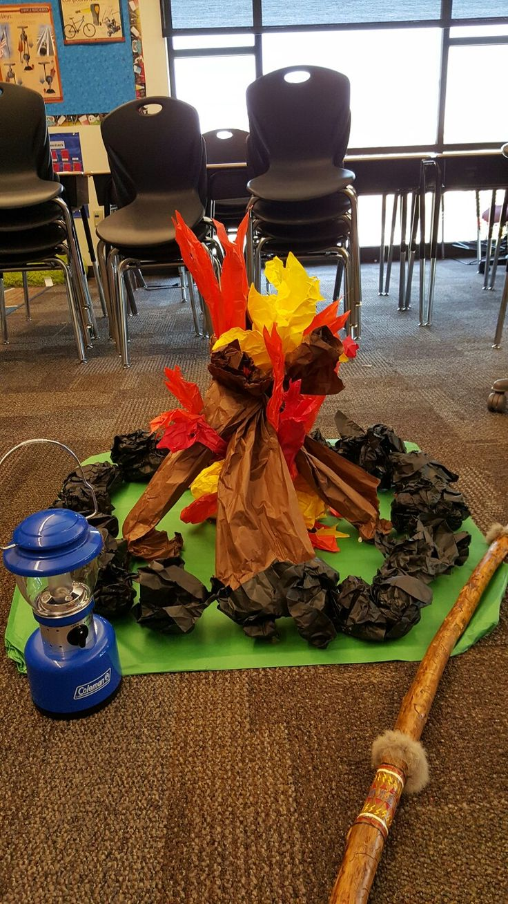 Classroom Campfire! The kids had a blast having an indoor camp out for the last day of school,  especially with a fun fake fire! It was so easy to make too.