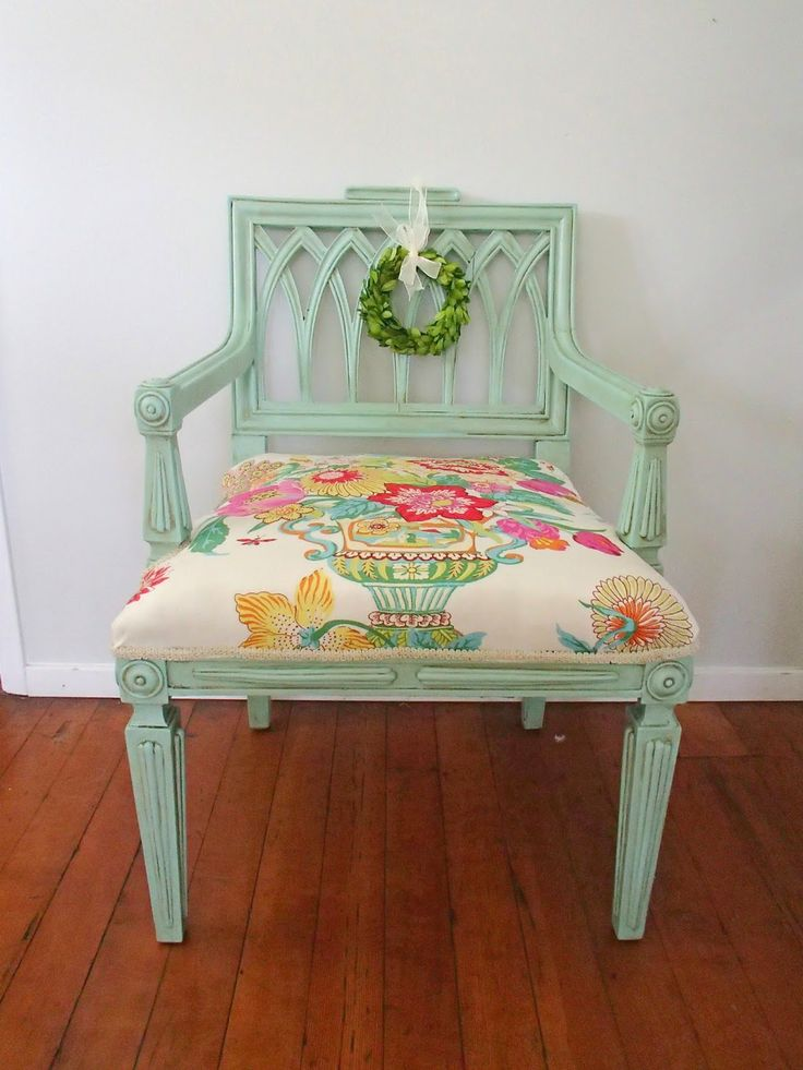 D.D.'s Cottage and Design: Bold Aqua Chair-bare bones to beauty!