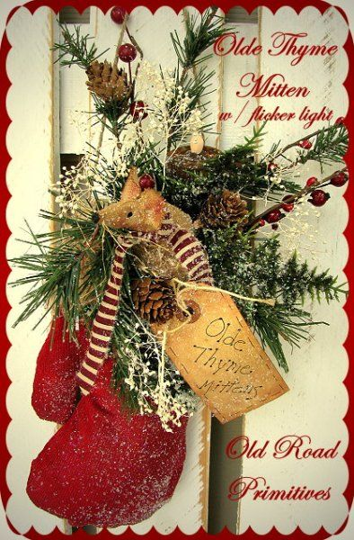 Olde Thyme Mitten Primitive Christmas Pattern PM $7.50