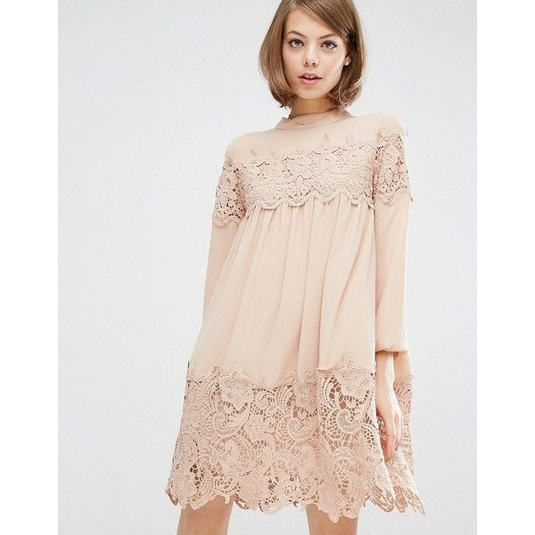 Fashion Union Long Sleeve Smock Dress With Lace Inserts (€41) ❤ liked on Polyvore featuring dresses, beige, crochet lace dress, beige long sleeve dress, panel dress, high neck dress and pink dress