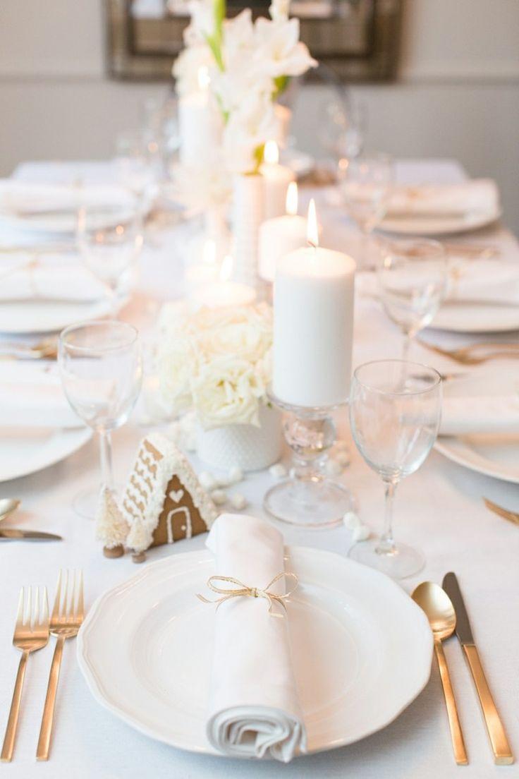 idée déco de table de Noël en blanc
