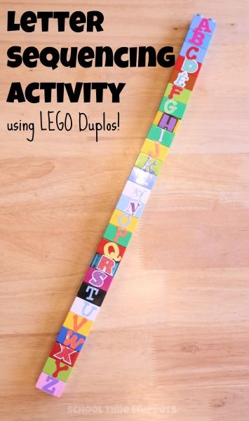 """Use your stash of LEGO DUPLOS for this hands-on letter sequencing activity! Build the alphabet, Play """"What is Missing?"""" and more!"""