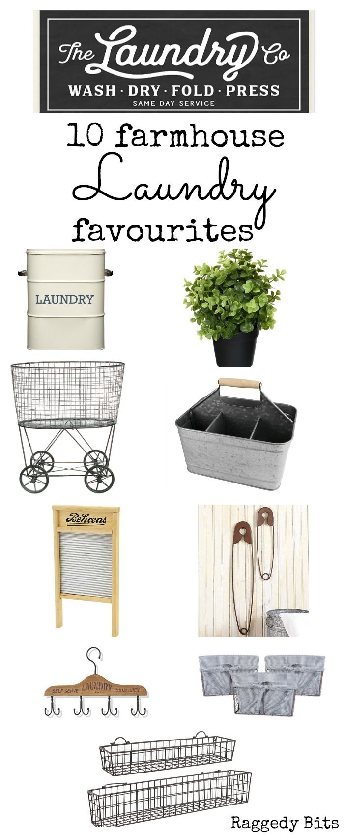 After recently moving into our new home the plans for sprucing up our old laundry got thrown out the window. With a completely space new inspiration was needed. Sharing 10 Farmhouse Laundry Favourites | www.raggedy-bits.com