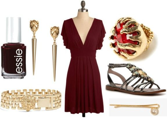 http://cloud.collegefashion.net/wp-content/uploads/2013/03/inspired-by-house-lannister-with-crimson-empire-dress-gladiator-sandals-lion-bracelet-lion-earrings-red-cocktail-ring-pearl-hairpin-and-oxblood-nail-polish1.jpg