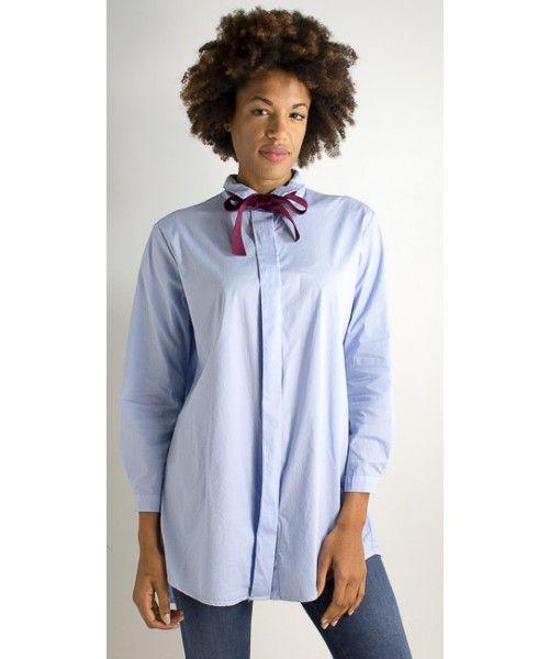 Maxi camicia a manica lunga con fiocco