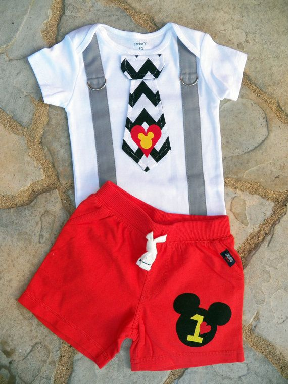 LOVE THIS!!!!! Mickey Mouse Birthday Tie and Suspenders Onesie and Shorts for Baby Boy First Birthday Disney Clothing Birthday Party Little Man Tie Outfit