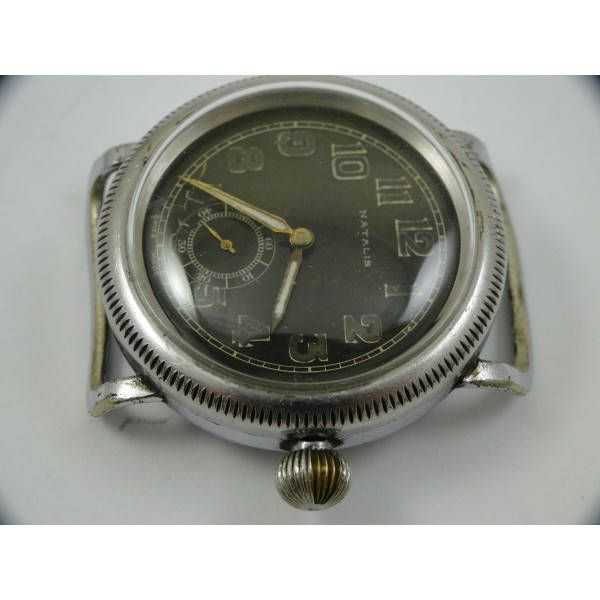 rare early vintage black dial nice condition being from the early 1930's natalis handmade swiss oversized pilot watch 41mm runs great by Bohemianwatchsource on Etsy