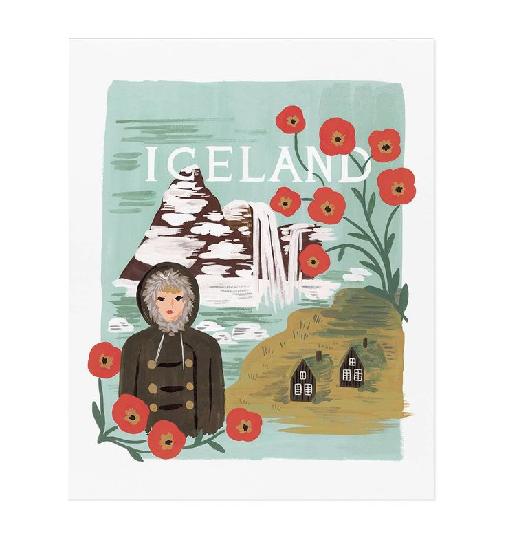 Iceland Illustrated Art Print