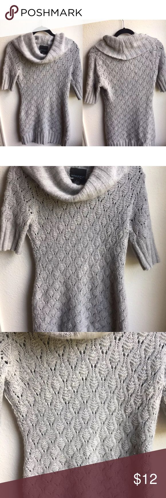 "Cynthia Rowley Cowl Neck Sweater Dress Sz L Cynthia Rowley Women's Cowl Neck Wool Blend Knit Short Sleeve Sweater Dress Sz L bust 19"" length 36"" Cynthia Rowley Dresses Mini"