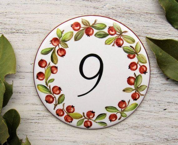 Targa personalizzata numero civico con ribes, Targa per la casa dipinta a mano, numero in porcellana, targa per esterno, targa per indirizzo