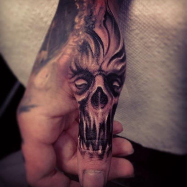Carl-Grace spirit skull thumb tattoo