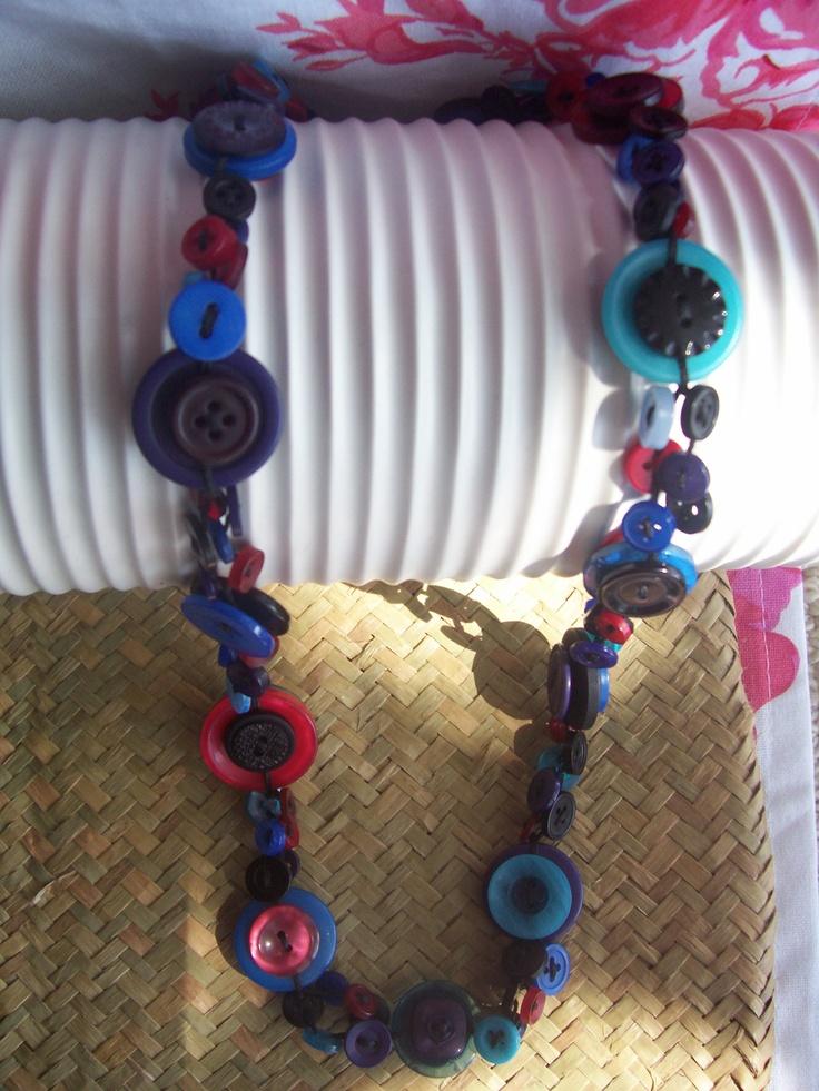 Multi Button Necklace by Bubbles Buttons #button #necklace