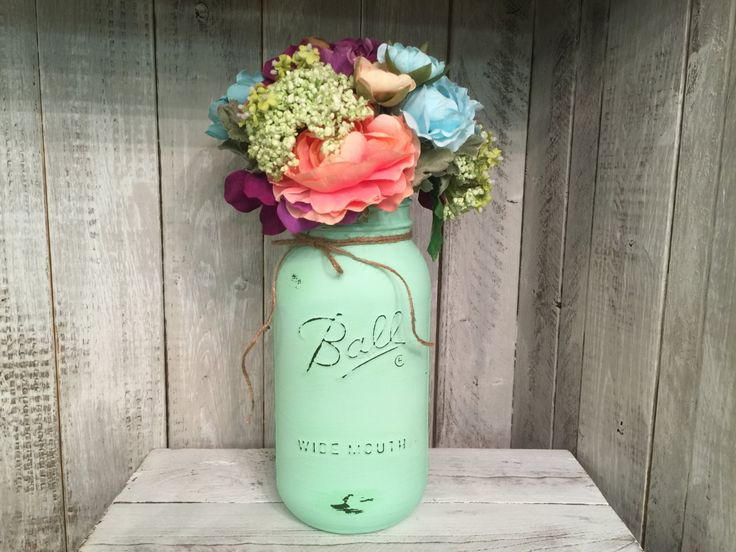 Painted Mason Jars,Vintage,Rustic Home Decor,Wedding Centerpieces, Shabby Chic Painted Mason Jars,French Country,Baby Bridal by BowtiqueBurlap on Etsy