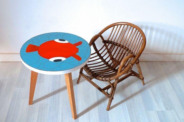 Table basse - colorée, décalée, humour - poisson - en verre