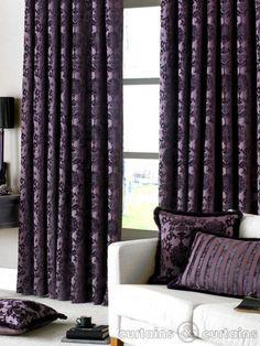 Dulux Luxury Heavy Thick Cut Velvet Damson Purple Pencil Pleat Curtain - Curtains UK