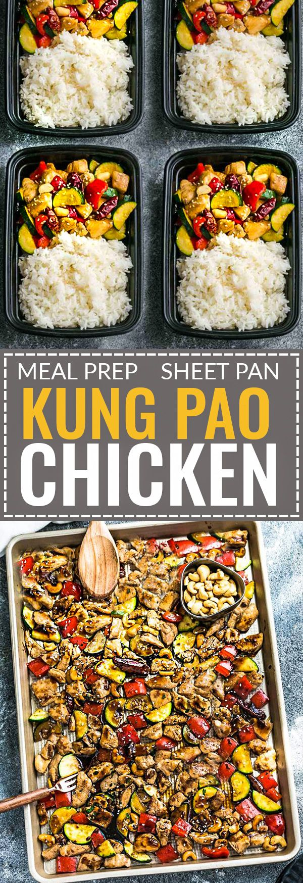 Sheet Pan Kung Pao Chicken Meal Prep Lunch Bowls is an easy all in one meal with all the flavors of the popular Chinese restaurant takeout dish. Best of all, it's perfect for busy weeknights and simple to customize with paleo friendly options and leftovers are delicious for work or school lunch bowls and lunchboxes or Sunday meal prep.
