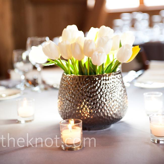 White Tulip Centerpieces in Hammered Silver Containers
