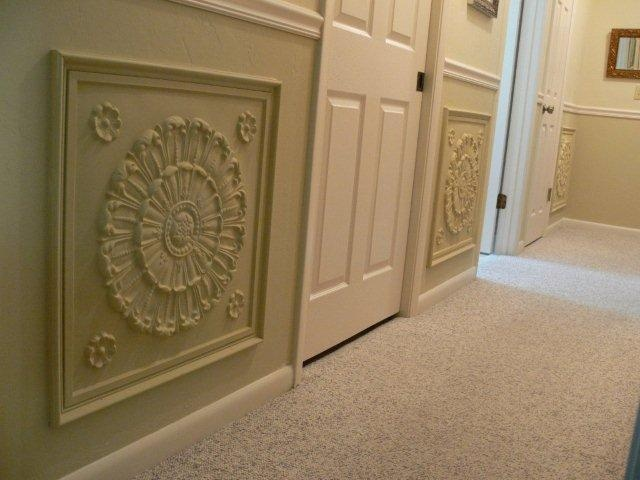 PVC Ceiling Tiles used as wainscoting on wall  #151 in White Gloss (painted by customer)  $9.99 for 24 x 24 tile  www.ceilingtilesbyus.com