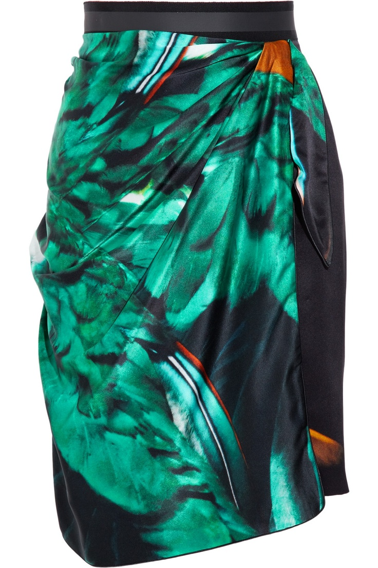 Such a sophisticated, punchy print with a beautiful, fluid drape. I'd love a scarf in this print, too! (Emanuel Ungaro printed silk-satin wrap-effect skirt, via The Outnet)