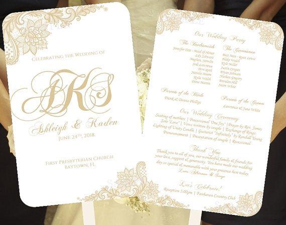 Champagne Wedding Fan Program Template Lace Monogram