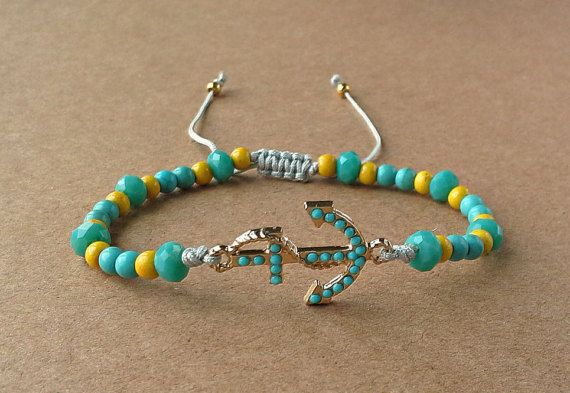 Anchor Aquamarine Strass Bracelet-Gold Metal by dngcreations